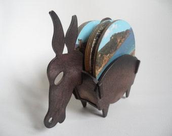 Spanish coasters with holder,donkey holder with 6 coasters,Vintage coasters set,1970 coasters