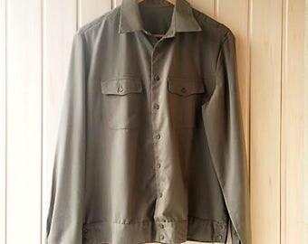USSR Military khaki Shirt, Vintage khaki Shirt, Soviet Officer from 80s, Army uniform, Olive Green Hipster Mens Medium size, Army tunic,