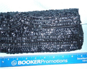 L A Regale Black Sequin Evening Bag clutch Vintage