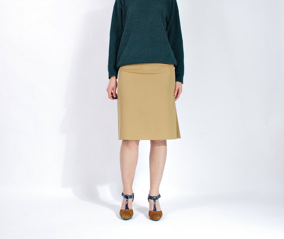 SALE! 80s Yves Saint Laurent Rive Gauche Camel Beige Wool Skirt Made in France / Size 40 - L