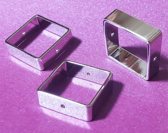 19x19x6mm 3D Silver Square Tube Bead Link with 2 holes Geometric Jewelry Supply on Sale 4 pcs