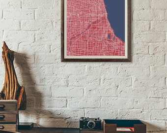 Cubs Edition - Chicago Vintage Map print