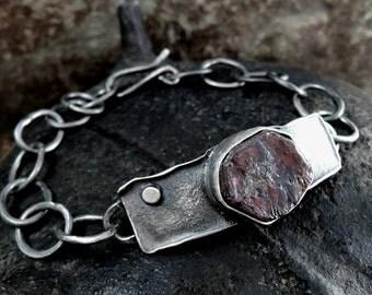 SALE! coupon code: SALE15 Garnet bracelet, raw garnet, silver statement, raw, rough, silver, chain, sterling,