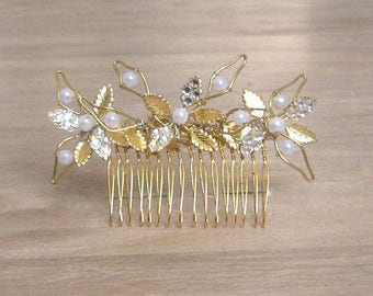 Gold hair comb Diamante crystal hair comb White faux pearl hair comb/accessory Gold leaf hair comb Bride accessory Swarovski decorated comb