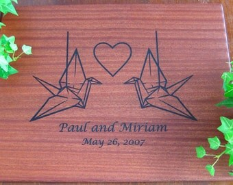Personalized Engraved Cutting Board, Paper Crane, Origami, Wedding Gift, Housewarming Gift, Anniversary, Birthday, Father's Day, Mothers day