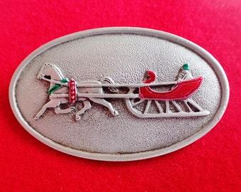 JJ Jonette Winter Sleigh Ride Brooch Pin/ Rare