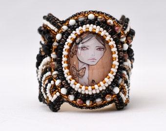 "Bead embroidery bracelet featuring my illustration ""Freya"""