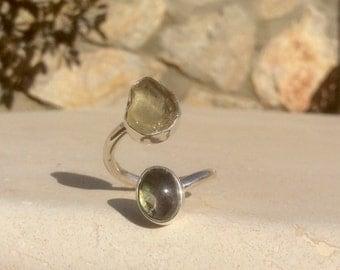 Tourmaline Silver Ring, Two Stone Ring, Dual Gemstone Ring, Double Stone Ring, Adjustable Ring, Citrine & Tourmaline Ring