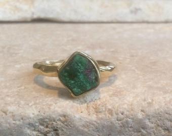 US 5, Raw Stone Ring, Raw Emerald Ring, Gold Vermeil Gemstone Ring, Rough Natural Gemstone, Rough Emerald Ring, Natural Gemstone Ring