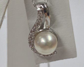 Freshwater Pearl with Natural Diamond Pendant 925 Sterling Silver