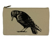 Pencil case stationary black bird  crow pencil pouch canvas bag pencil holder make up bag school supplies