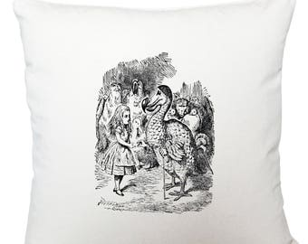 Alice in Wonderland dodo cushion cover, scatter cushion, throw cushion, white cushion