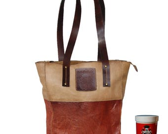 Tote bag for women's MELBOURNE brown genuine leather