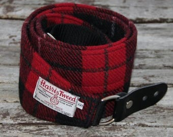 Harris Tweed 4'' wide guitar strap, guitar accessory, leather and Harris Tweed guitar strap, checks and tartans
