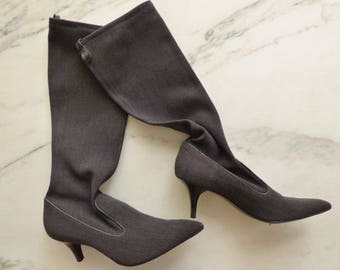 Cole Haan Stretch Boots Charcoal Grey