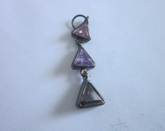 Vintage Silver & Amethyst Triple Triangle Necklace Pendant