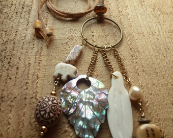 beige, mother of pearl, ivory leaf charm necklace