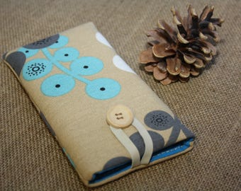 Brown with turquoise sleeve for iPhone 6 Plus -iPhone 7 Plus sleeve-  iPhone Pouch, iPhone Sleeve, iPhone 7, iPhone 6 Plus, iPhone 6+ Cover