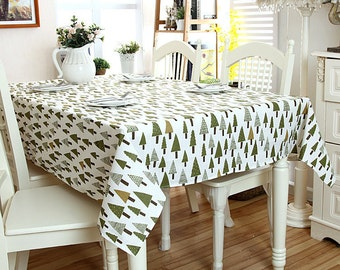 Tablecloth Raw White Triangle Tree Linen Cotton Tablecloth, Table Overlays,  Birthday Party Linens,