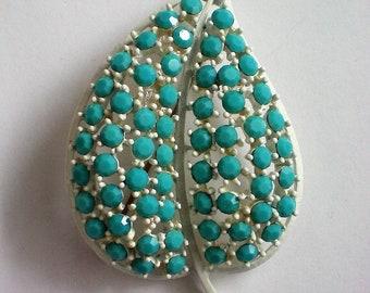 Signed Lisner Turquoise Blue Rhinestone White Heart Brooch - 5158