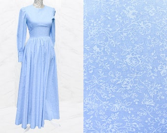 70s Vintage Blue Victorian Style Dress • Gypsy Dress • Womens Maxi Dress • Handmade Floral Dress With Sleeves • Full Skirt • Peasant Dress.S