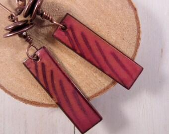 Torch Fired Enamel Earrings, Pink & Plum Drop Earrings, Copper Earrings, Dangle Earrings, Copper Drop Earrings