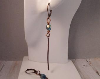 Copper & Teal Minimalist Earrings,Teal Czech Glass Drop Earrings, Teal Dangle Earrings, Long Hammered Copper Drops, Bohemian Earrings