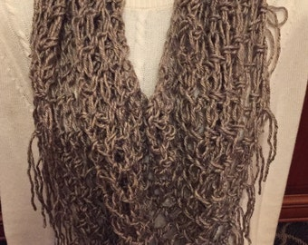 Crocheted scarf, Light brown infinity scarf with fringe