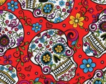 Skulls & Zombies- Red Dia De Los Muertos, Fabric by the Yard