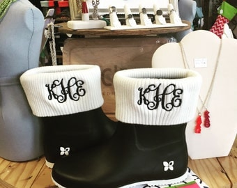 Butterfly Twist Ankle Rain Boots with Monogram