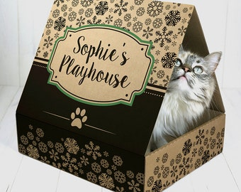 Recycled Cardboard Playhouse for Cats (Winter Edition)