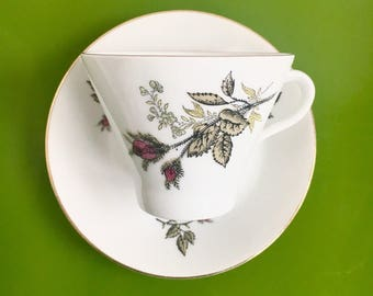 """Vintage Arabia Finland ceramic edge gold plated rose coffee cup with saucer named """"Soma"""",  Raija Uosikkinen, 1970s - Made in Finland"""