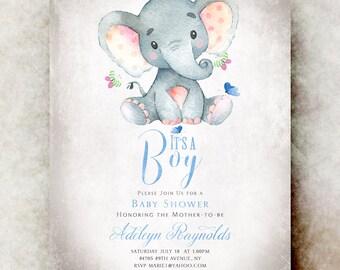 Elephant Baby shower invitation boy - printable baby shower invitation, baby boy shower invitation, unique baby shower invitations