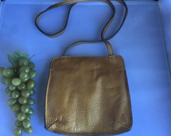 Q035  Lawrence Bentley Brown Leather cross-body purse