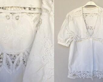 50's antique handmade lace big collar cotton white wedding top summer blouse prairie short sleeves M