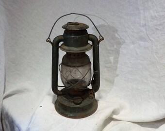 Drury Little Supreme Antique Railroad Lantern, Vintage Green New York Railway Salvage