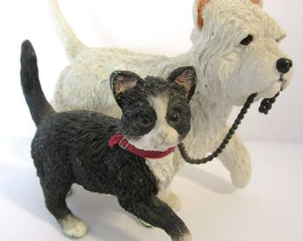 Dog and Cat Unlikely Friends but So Sweet White Dog and Black and White Cat Dog is Leading Cat w Chain How Sweet