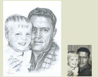 Father's Day gift, Father Gift, Gift for Dad, Father's Day, pencil portrait, hand drawn from favourite photo, Custom, Art Work,