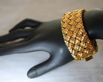 Elegant Vintage Nolan Miller Matte Gold Woven Cuff Bracelet