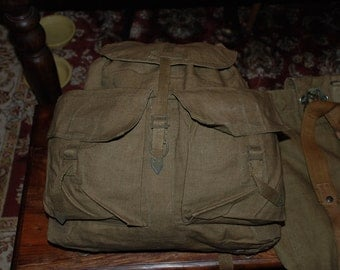 Vintage Czech Army Rucksack /Backpack Lots of Space/ Brown and Faded Green