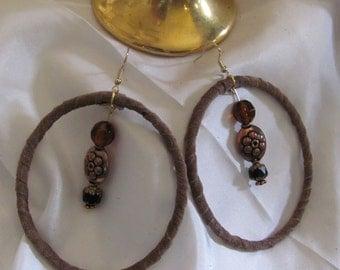 """Earrings Beautiful Brown Leather Suede Beaded Hoop Earrings 3"""" Long (#3A)"""
