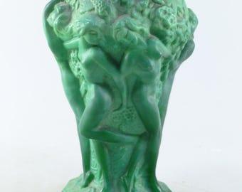 Czech art deco glass malachite vase, Pazourek Schlevogt