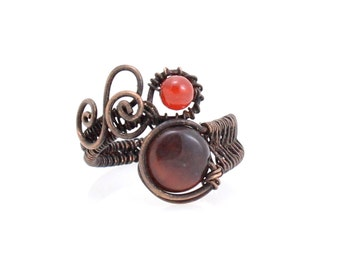 Red Tiger Eye Ring, Wire Wrapped Ring, Copper Ring, Bohemian Ring, Copper Swirls, Wire Weaving, Bohemian Fashion, Gypsy Ring, Eclectic