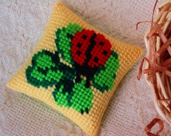 Lady Bug Mini Pillow, Needlepoint Pillow, Needle Art Decor, Pincushion Spring Lady Bug / Clover Art
