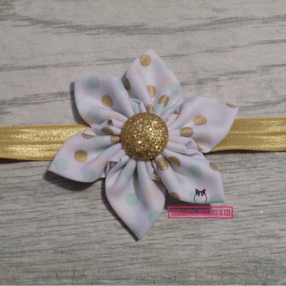 Peach mint and gold Large Fabric Flower Headband   Baby Girl   Hand sewn