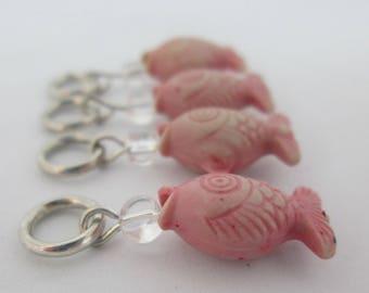 Pink Fish Knitting Stitch Markers