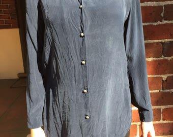 Navy silk blouse