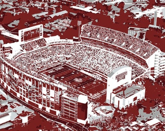 Mississippi State University Davis Wade Football Stadium Print, Canvas Print, Bulldogs, Man Cave, Father's Day, Graduation, Groomsman, Art