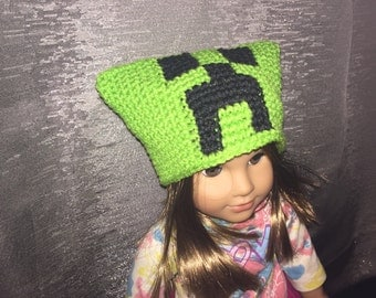 Minecraft Creeper hat for 18-inch doll