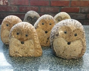 """NEW!  4"""" Stone Rock Boulder Hedgehog"""